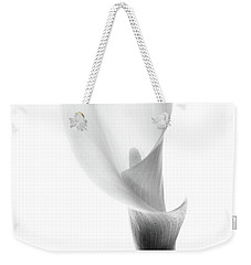 Weekender Tote Bag featuring the photograph Single Cala Black And White by Rebecca Cozart