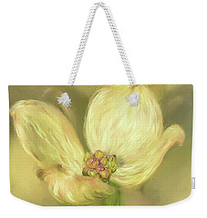 Weekender Tote Bag featuring the digital art Single Dogwood Blossom In Evening Light by Lois Bryan