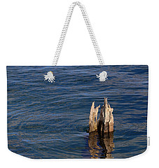 Weekender Tote Bag featuring the photograph Single Old Piling Horizontal by Mary Bedy