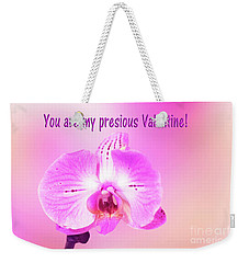 Weekender Tote Bag featuring the photograph Single Orchid Valentine by Linda Phelps