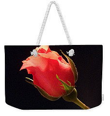 Single Pink Rose Bud Weekender Tote Bag
