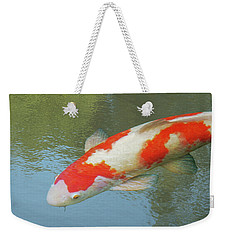 Single Red And White Koi Weekender Tote Bag by Gill Billington
