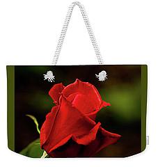 Single Red Rose Bud Weekender Tote Bag