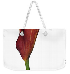 Single Rust Calla Lily Stem Weekender Tote Bag by Heather Kirk