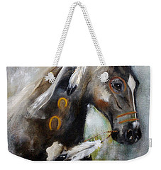 Weekender Tote Bag featuring the painting Sioux War Pony by Barbie Batson