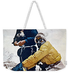 Weekender Tote Bag featuring the painting Sir Edmund Hillary by Granger