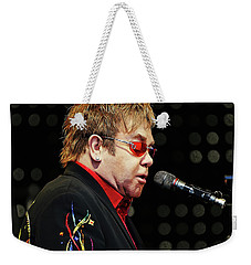 Sir Elton John At The Piano Weekender Tote Bag by Elaine Plesser