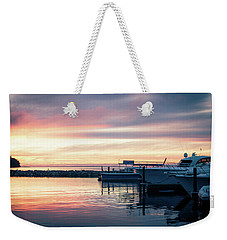 Sister Bay Marina At Sunset Weekender Tote Bag