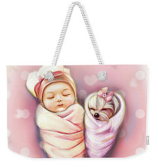 Weekender Tote Bag featuring the painting Sisters Nap Time by Catia Lee