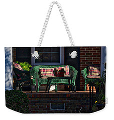 Weekender Tote Bag featuring the photograph Sit A Spell by Linda Brown