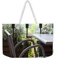 Weekender Tote Bag featuring the photograph Sit A While by Laddie Halupa