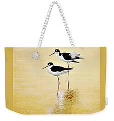 Weekender Tote Bag featuring the painting Stilt Golden Hour by Barbara Chichester