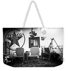 Sitting At The Texaco Black And White Weekender Tote Bag