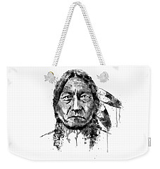 Weekender Tote Bag featuring the mixed media Sitting Bull Black And White by Marian Voicu