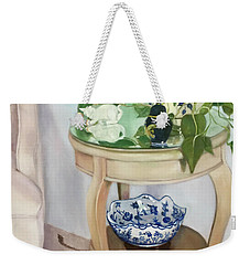 Weekender Tote Bag featuring the painting Sitting Pretty by Marlene Book