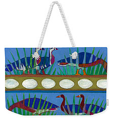 Weekender Tote Bag featuring the painting Six Geese-a-layin by Denise Weaver Ross