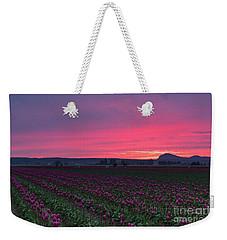 Weekender Tote Bag featuring the photograph Skagit Valley Burning Skies by Mike Reid