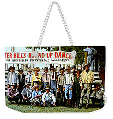 Weekender Tote Bag featuring the painting Skeeter Bill's Round Up by Tom Roderick