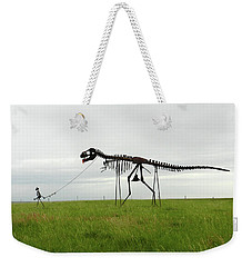 Skeletal Man Walking His Dinosaur Statue Weekender Tote Bag