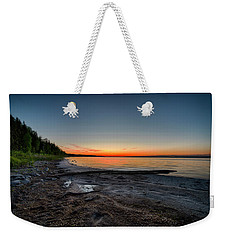 Weekender Tote Bag featuring the photograph Skeleton Lake Beach At Sunset by Darcy Michaelchuk