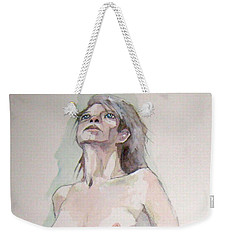 Weekender Tote Bag featuring the painting Sketch For Megan Iv by Ray Agius