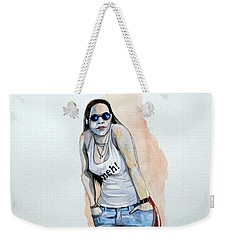 Weekender Tote Bag featuring the painting Sketch For Meh by Ray Agius
