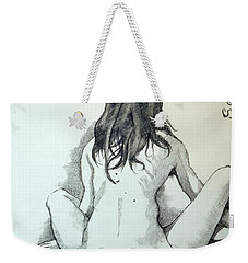 Weekender Tote Bag featuring the painting Sketch For Sera.10.02 by Ray Agius