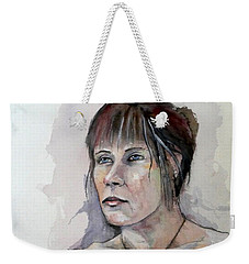 Weekender Tote Bag featuring the painting Sketch For White Amber by Ray Agius