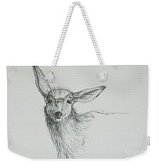 Sketch Of A Mule Deer Doe Weekender Tote Bag