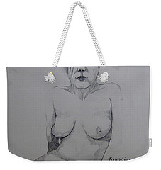 Weekender Tote Bag featuring the drawing Sketch Reclining Cassie by Ray Agius