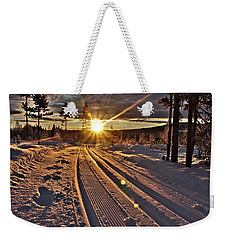 Ski Trails With Sun Beams Weekender Tote Bag