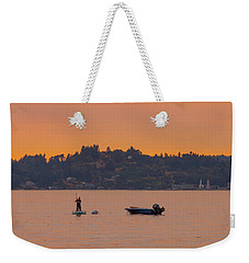 Skiff Anchored - Dinghy Ride Back To Shore Weekender Tote Bag