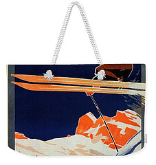Skiing On The Alps In Cortina - Ice Hockey Tournament - Vintage Advertising Poster Weekender Tote Bag