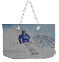 Weekender Tote Bag featuring the painting Skiing The Whistler Blackcomb In Bc by Kelly Mills
