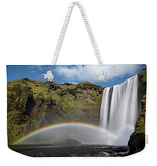 Weekender Tote Bag featuring the photograph Skogafoss And Companion Rainbow by Rikk Flohr