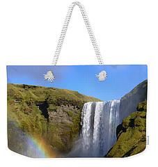 Skogafoss Waterfall With Rainbow 151 Weekender Tote Bag