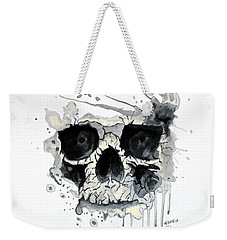 Weekender Tote Bag featuring the painting Skull by Edwin Alverio