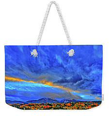 Weekender Tote Bag featuring the photograph Sky Fall by Scott Mahon