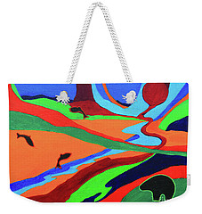 Weekender Tote Bag featuring the painting Sky Rivers by Jeanette French