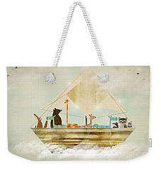 Weekender Tote Bag featuring the painting Sky Sailers by Bri B