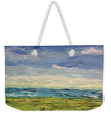 Weekender Tote Bag featuring the painting Sky, Sea And Golf  by Geeta Biswas