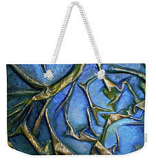 Weekender Tote Bag featuring the mixed media Sky Through The Trees by Angela Stout