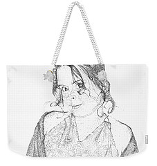 Weekender Tote Bag featuring the drawing Skye by Mayhem Mediums
