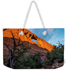 Weekender Tote Bag featuring the photograph Skyline Arch At Sunset - Arches National Park - Utah by Gary Whitton