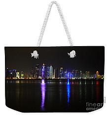 Skyline Of Doha, Qatar At Night Weekender Tote Bag