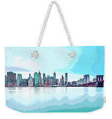 Skyline Of New York City, United States In Blues Weekender Tote Bag
