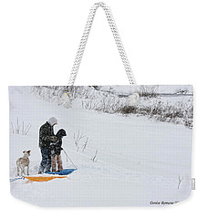 Weekender Tote Bag featuring the photograph Sledding by Denise Romano