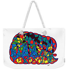 Weekender Tote Bag featuring the drawing Sleeping Baby Elephant by Susan Dimitrakopoulos