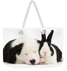 Sleeping In Black And White Weekender Tote Bag