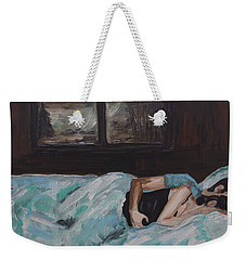 Sleeping In Weekender Tote Bag by Leslie Allen